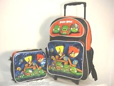 "Angry Birds Boys Girls 16"" School Rolling Backpack with Lunch Box Bag Set-New!!!"