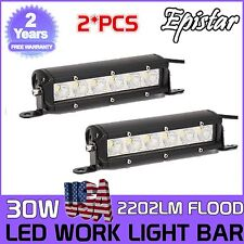7 inch 2X 30W Single Row Led Driving Work Light Bar Flood Beam Off-road 4WD SUV