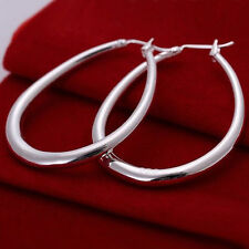 Sterling Silver Plated Medium Size U Shaped Hoop Fashion Earrings Length 1 3/4""