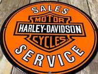 VINTAGE HARLEY-DAVIDSON MOTORCYCLE DEALER SALES & SERVICE PORCELAIN ENAMEL SIGN