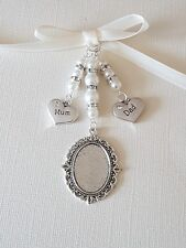 Bridal wedding bouquet charm silver oval photo locket with mum and dad charms
