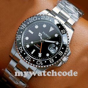 40mm PARNIS black dial Sapphire glass Ceramic bezel GMT automatic mens watch 338