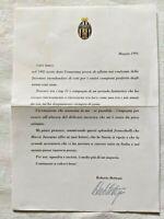 LETTERA ROBERTO BETTEGA AI TIFOSI FRANCOBOLLI HURRA JUVENTUS MAGGIO 1994