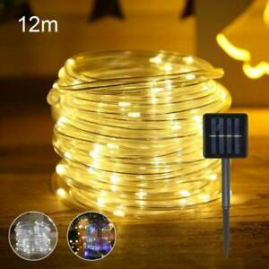 12M 120 LED Rope Strip Tube String Fairy Lights Strip Waterproof Garden Outdoor