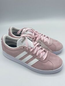 ADIDAS VL Court 2.0 Women's Pink White Casual Sneakers Shoes New Size 8.5-9.5