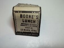 Matchbook Cvr Boone's Lunch Beverages Candy Cigs & Ice Cream Le Mars Iowa  #22