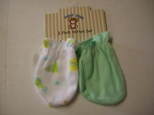 Scratch Mittens, Boy, 2 Pack, Solid Green & Print, 0-6 Mos, Brand New