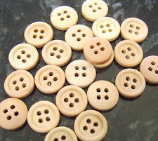 20 pianura in Legno Rotondo pulsanti-leggero legno colore 15mm