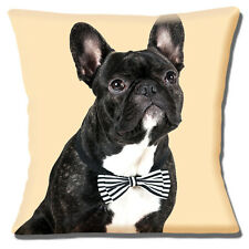 French Bulldog Cushion Cover 16x16 inch 40cm Black White Dog Wearing Bow Tie