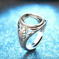 Base Adjustable Carved Totem Hollow Rings Blanks Set Inlaid  Antique Silver