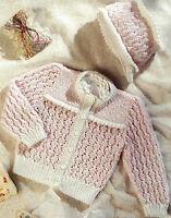 "Baby Girls Cardigan & Bonnet Knitting Pattern Lace and Picot edge 16-22"" DK 450"
