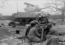 WWII B&W Photo US M4 Sherman Tank Crew Makes Repairs WW2 World War Two / 3054