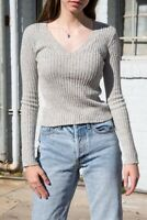 brandy melville fitted speckled gray ribbed v neck milena sweater NWT sz XS/S