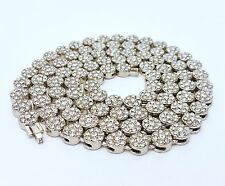 MENS HIP HOP ICED OUT SILVER FINISH CUBIC ZIRCONIA FLOWER CLUSTER CHAIN NECKLACE