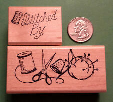 Sewing Border/Stitched By - Wood Mounted Rubber Stamp Set of (2)