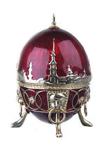 Russian Faberge Egg Trinket Box Embankments of St.-Petersburg & Lions 3.3'' red