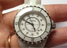 Authentic CHANEL J12 white Ceramic 33 mm Quartz Diamant Uhr Watch wNeu!