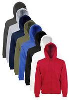 Fruit of the Loom Plain Full Zip Hooded Sweat Jacket Hoodie No Logo