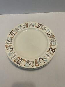 "Four Vintage Harmony House Marimba Bay 10.5"" Dinner Plates Mid Century Atomic"
