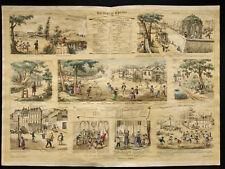 Rare 1853ca - La Physique : Mouvement et repos - Planche encyclopédique, scolair