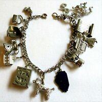 Vintage 60's STERLING SILVER Charm Bracelet 14 Charms 49.9 GMS