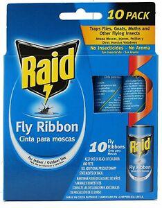 RAID Fly Ribbon Flying Insect Glue Strip Bug Trap 10 Ribbons Fly Killer NEW