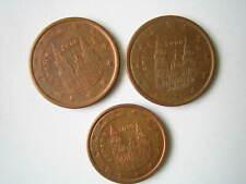 Spanien 2000 3 Münzen 5 cent  2 cent gesammelt aus aktuellem Umlauf