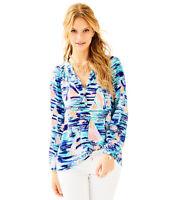 NWT $158 LILLY PULITZER Elsa Silk Blouse Pier Pressure Size L