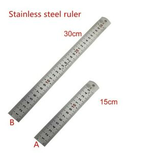 """Double Side Thick Metal Ruler Stainless Steel- 30cm-15cm 12"""" 6"""" Inches UK Seller"""