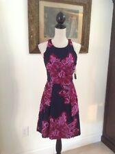 New nicole Miller Collection FitFlair Dress Navy Sz 4 Burg/Lavender Flowers $510