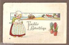 VINTAGE POSTCARD 1914 EMBOSSED EASTER GREETINGS DUTCH GIRL WITH RABBIT