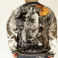 Mens REVERSIBLE Sukajan Souvenir Jacket Japanese Pattern Embroidered Tattoo Myth