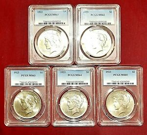 1923 PEACE DOLLAR PCGS MS-61, 62, 63, 64, 65 5-COIN GRADING SET
