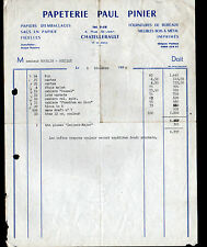 """CHATELLERAULT (86) PAPETERIE / SACS d'EMBALLAGE & BUREAUTIQUE """"Paul PINIER"""" 1956"""
