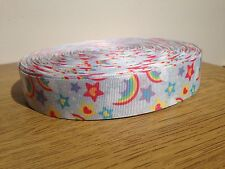 "1m RAINBOW SPARKLE GLITTER STAR RIBBON 1"" 25mm GROSGRAIN RIBBON HAIR BOW CAKE"