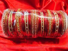 2.8 L Bollywood Bangles Bracelet Indian Wedding Jewellery Chura Pink Red Gold Z2
