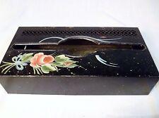 Vtg Metal Wall-Mount Tissue Box Holder Black w/ Painted Flowers Distressed Bath