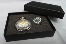Masonic Luxury Gift Set Silver & Gold Pocket Watch Pendant Box Secrets Rules UK
