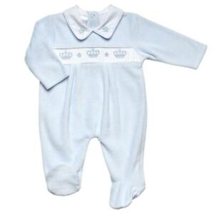 Baby boys Spanish style velour crown smocked baby grow sleepsuit 0-3 3-6 month
