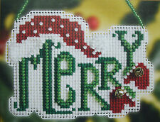 "Mill Hill Counted Glass Bead Kit  ""Merry"" (Winter Greetings Ornament)"