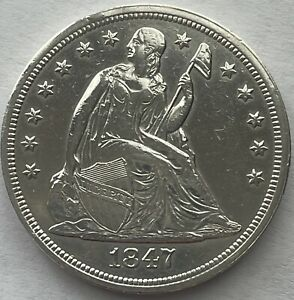 1847 Seated Liberty Dollar Uncirculated Nice Type, Polished Or Cleaned Unc.