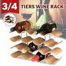 3/4 Tier 14 Bottle Wood Wave Shelf Wine Rack Holder Storage Display Organiser US