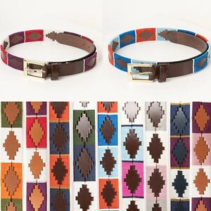 Rydale Polo Belt 100% Leather Stitched Embroidered Belts Equestrian 24 Colours