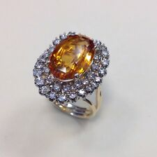 14k Yellow Gold 6.57 tcw J/SI Natural Diamond & Citrine Center Engagement Ring
