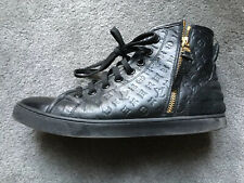 LOUIS VUITTON BLACK EMBOSSED LEATHER & SUEDE TRAINER BOOTS SIZE 38/UK SIZE 5