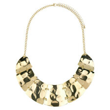 Hammered Geometric Plate Statement Bib Necklace In Gold Tone