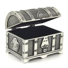 Gift Ring Jewelry Small Fashion Box Antique Silver Metal Treasure Chest Trinket