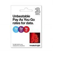 UK 3 Three SIM Card UK  Standard/Micro/Nano pay as you go 3G 4G