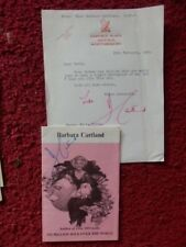 BARBARA CARTLAND - AUTHOR - AUTOGRAPH LETTER / BOOKLET