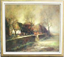 Hans Nowak, Heidedorf, Original Gemälde 84cm x 93cm mit Holzrahmen